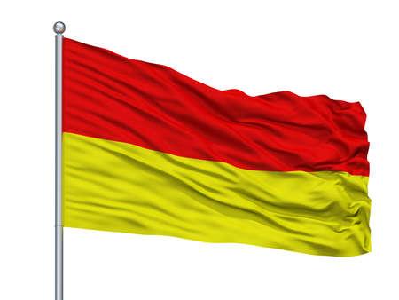 Tarnowskie Gory City Flag On Flagpole, Country Poland, Isolated On White Background
