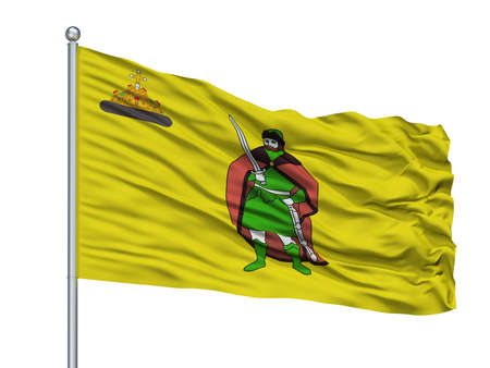 Perm City Flag On Flagpole, Country Russia, Isolated On White Background Stock Photo
