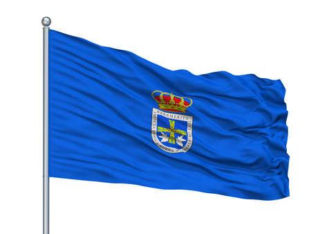 Salamanca City Flag On Flagpole, Country Spain, Isolated On White Background Stock Photo