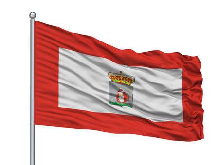 Cadiz City Flag On Flagpole, Country Spain, Isolated On White Background