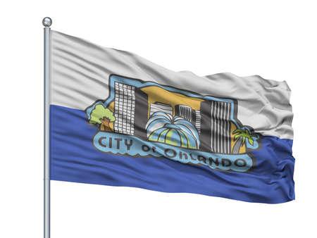Saint David City Flag On Flagpole, Country Uk, Isolated On White Background 免版税图像