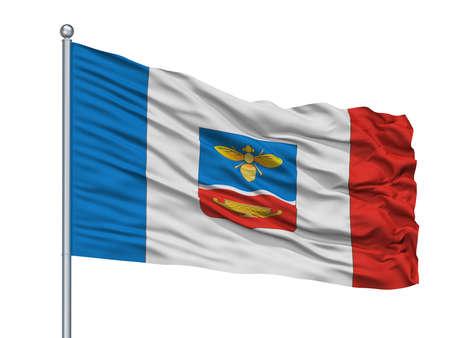 Nikolayev City Flag On Flagpole, Country Ukraine, Isolated On White Background
