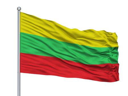 Colonia Tovar City Flag On Flagpole, Country Venezuela, Isolated On White Background Imagens