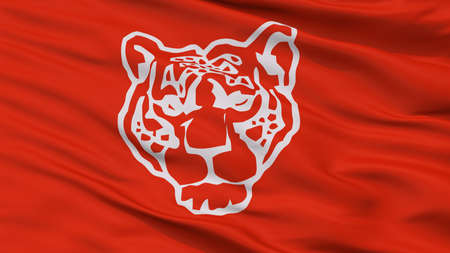 Roja Del Partido De Tigre City Flag, Country Argentina, Closeup View Standard-Bild - 107007570