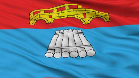 Mosty City Flag, Country Belarus, Closeup View Reklamní fotografie