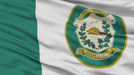 Kitchener City Flag, Country Canada, Ontario Province, Closeup View Reklamní fotografie - 107072709