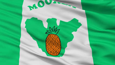 Moorea Maiao City Flag, Country French Polynesia, Closeup View