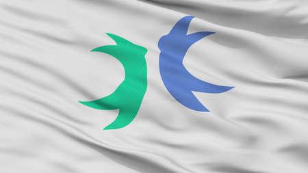 Hokuto City Flag, Country Japan, Yamanashi Prefecture, Closeup View