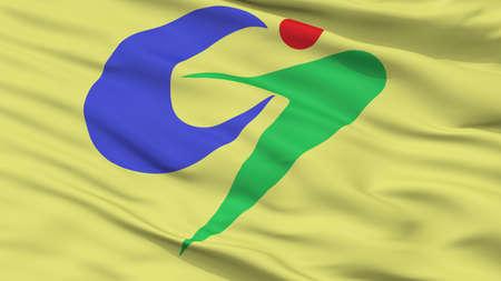 Goshogawara City Flag, Country Japan, Aomori Prefecture, Closeup View