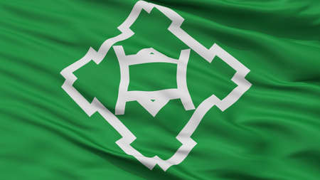 Ikeda City Flag, Country Japan, Osaka Prefecture, Closeup View