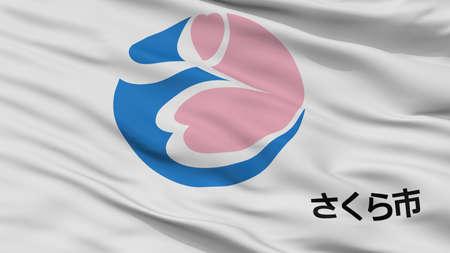 Sakura City Flag, Country Japan, Tochigi Prefecture, Closeup View