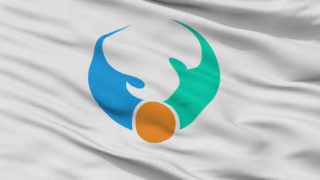Shibushi City Flag, Country Japan, Kagoshima Prefecture, Closeup View