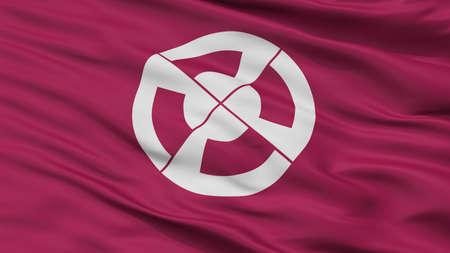 Shimabara City Flag, Country Japan, Nagasaki Prefecture, Closeup View Banque d'images