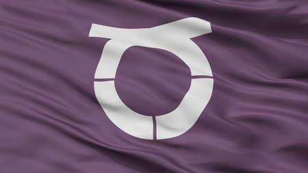 Takeo City Flag, Country Japan, Saga Prefecture, Closeup View 版權商用圖片