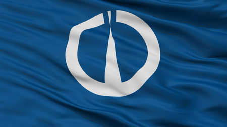Tsuruga City Flag, Country Japan, Fukui Prefecture, Closeup View