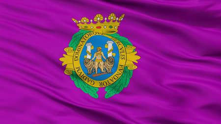 Cadiz City Flag, Country Spain, Closeup View