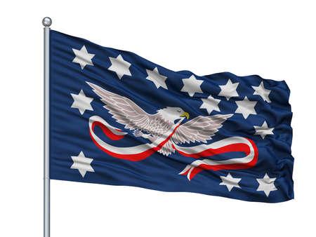 Whiskey Rebellion Isolated Flag on Flagstaff, White Background, 3D Rendering Stock Photo