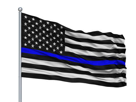 Blue Lives Matter Isolated Flag on Flagstaff, White Background, 3D Rendering