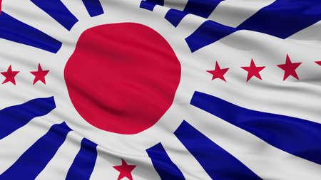 Japan Nazi High Castle Flag, Closeup View, 3D Rendering