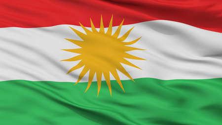 Kurdistan Flag Closeup View, 3D Rendering