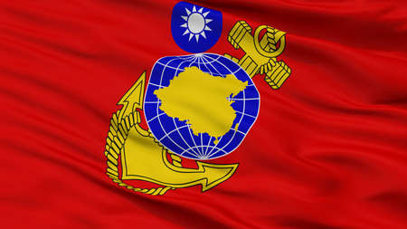 Republic Of China Marine Corps Flag, Closeup View, 3D Rendering 写真素材