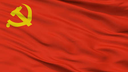 Chinese Communist Party Flag, Closeup View, 3D Rendering
