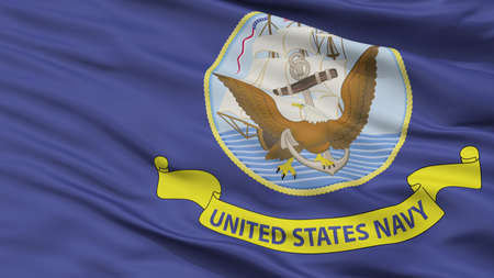 United States Navy Official Specifications Flag, Closeup View, 3D Rendering
