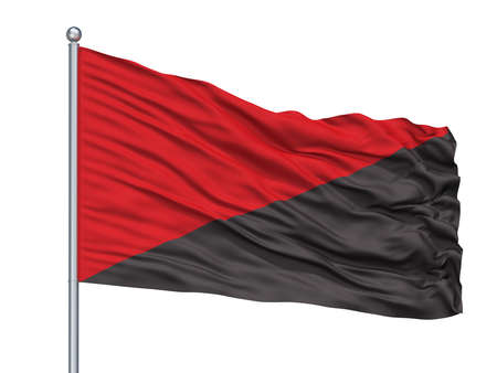 Anar Communist Flag On Flagpole, Isolated On White Background, 3D Rendering