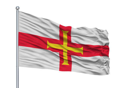 Guernsey Flag On Flagpole, Isolated On White Background, 3D Rendering