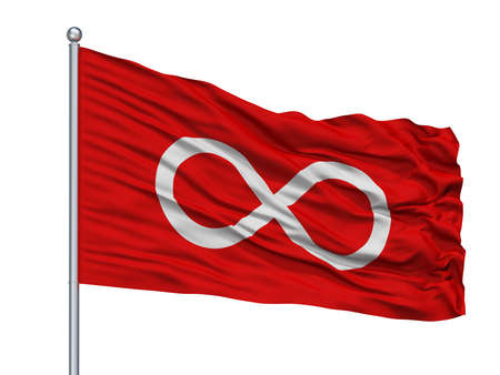 Metis Red Indian Flag On Flagpole, Isolated On White Background, 3D Rendering