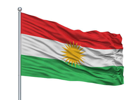 Kurdistan Flag On Flagpole, Isolated On White Background, 3D Rendering Фото со стока - 108062163