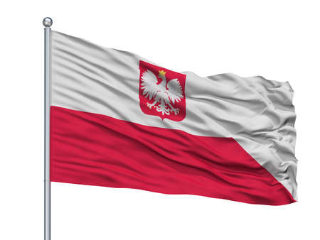 Poland Naval Ensign Flag On Flagpole, Isolated On White Background, 3D Rendering Stock Photo