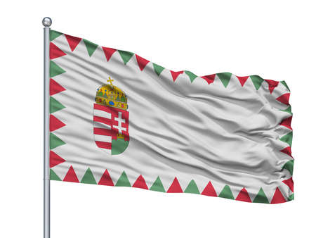 Hungary Naval Ensign Flag On Flagpole, Isolated On White Background, 3D Rendering