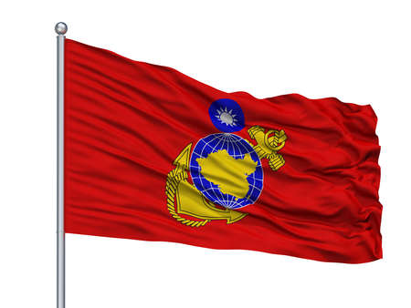 Republic Of China Marine Corps Flag On Flagpole, Isolated On White Background, 3D Rendering 写真素材