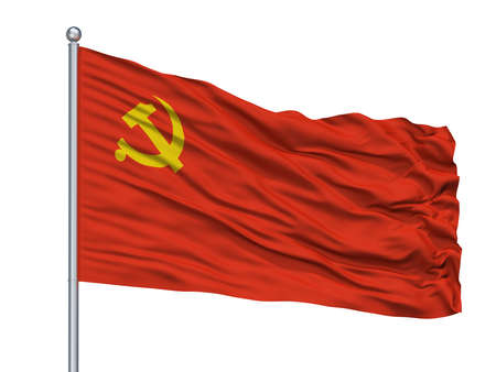 Chinese Communist Party Flag On Flagpole, Isolated On White Background, 3D Rendering Stockfoto