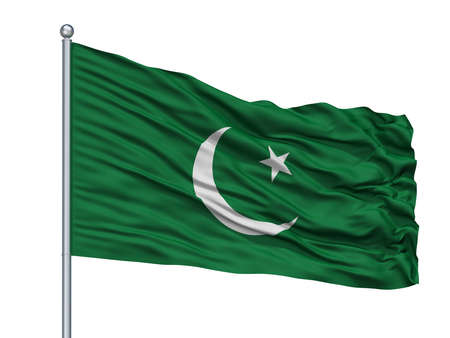 Pakistan Muslim League Flag On Flagpole, Isolated On White Background, 3D Rendering