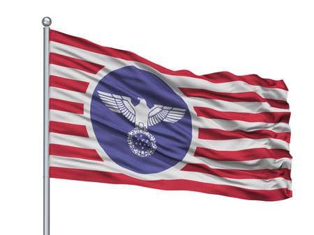 Usa Nazi  Flag On Flagpole, Isolated On White Background, 3D Rendering