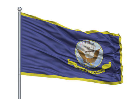 United States Navy Official Specifications Flag On Flagpole, Isolated On White Background, 3D Rendering Reklamní fotografie