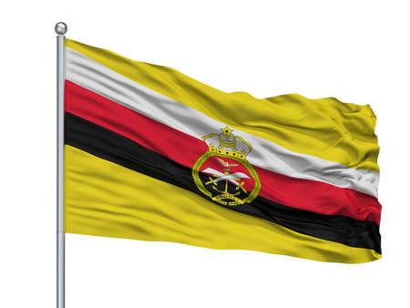 Brunei War Flag On Flagpole, Isolated On White Background, 3D Rendering Stock Photo