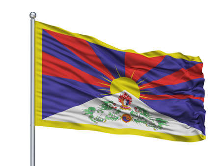 Tibet Flag On Flagpole, Isolated On White Background, 3D Rendering