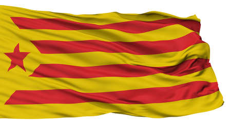 Catalan Nationalism Flag, Isolated On White Background, 3D Rendering