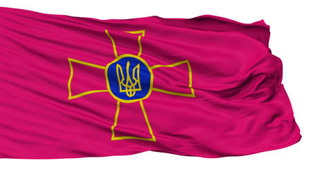Ensign Of Ukrainian Armed Forces Flag, Isolated On White Background, 3D Rendering Stock Photo