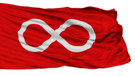 Metis Red Indian Flag, Isolated On White Background, 3D Rendering