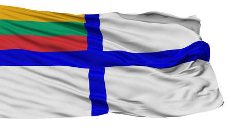 Lithuania Naval Ensign Flag, Isolated On White Background, 3D Rendering
