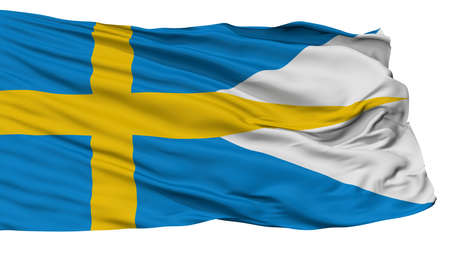 Sweden Naval Ensign Flag, Isolated On White Background, 3D Rendering