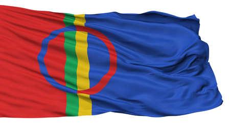 Sami Scandinavia Flag, Isolated On White Background, 3D Rendering Stock Photo