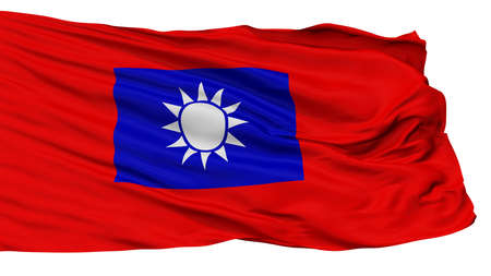 Republic Of China Army Flag, Isolated On White Background, 3D Rendering Stock Photo