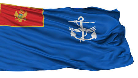 Navy Of Montenegro Flag, Isolated On White Background, 3D Rendering