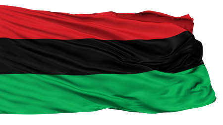 Panafrican Unia Afro American Black Liberation Flag, Isolated On White Background, 3D Rendering