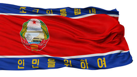 North Korean Peoples Army Flag, Isolated On White Background, 3D Rendering